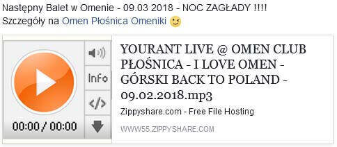 YOURANT LIVE OMEN CLUB PŁOŚNICA - I LOVE OMEN - GÓRSKI BACK TO POLAND (09.02.2018)