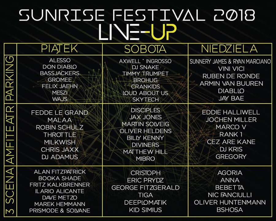 Pełen line-up Sunrise Festival 2018