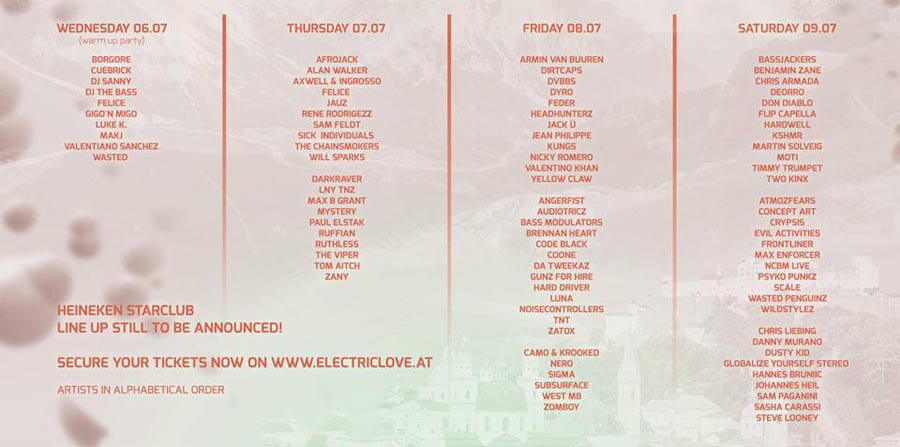 Electric Love Festival 2016 - TIMETABLE DJS
