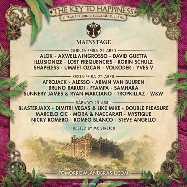 Key To Happiness Mainstage - LINEUP Tomorrowland Brasil