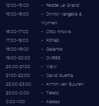Tomorrowland 2016 TIMETABLE Friday 22 July