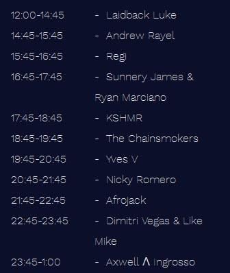 Tomorrowland 2016 TIMETABLE Saturday 23 July