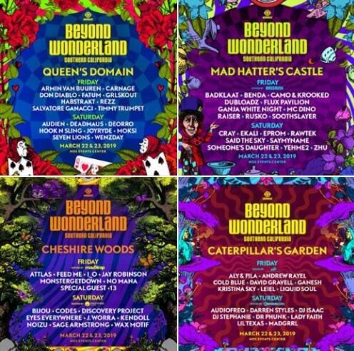 Beyond Wonderland 2019 - LINEUP DJ'S