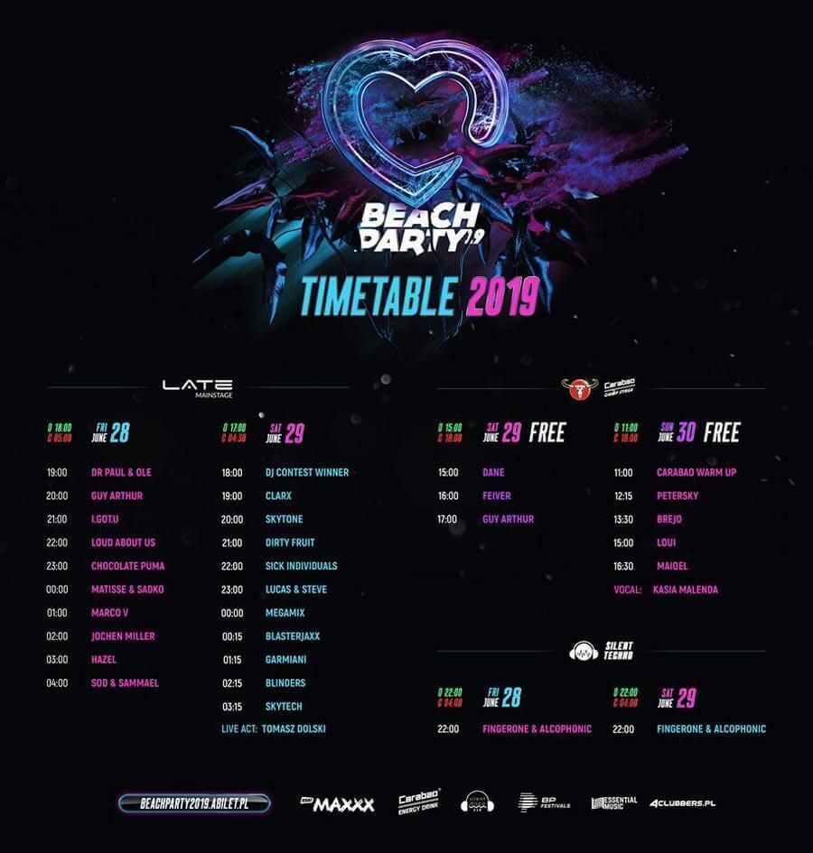 Time-table BEACH PARTY 2019 Trzcianka